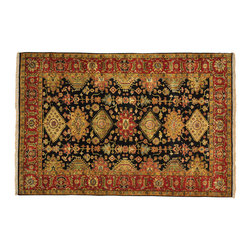 1800-Get-A-Rug - Hand Knotted Oriental Rug Black Fine Karajeh New Zealand Wool Sh20016 - Our Tribal & Geometric hand knotted rug collection, consists of classic rugs woven with geometric patterns based on traditional tribal motifs. You will find Kazak rugs and flat-woven Kilims with centuries-old classic Turkish, Persian, Caucasian and Armenian patterns. The collection also includes the antique, finely-woven Serapi Heriz, the Mamluk, Afghan, and the traditional handmade village Persian rugs.
