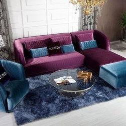 Colorful Sofas - Transitional Purple Floss Fabric Sectional Sofa & Chair