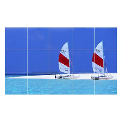 Picture-Tiles, LLC - Boat Ship Picture Kitchen Bathroom Ceramic Tile Mural  18 x 30 - * Boat Ship Picture Kitchen Bathroom Ceramic Tile Mural 1251