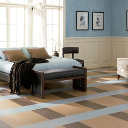 Marmoleum brand linoleum sheet flooring from Forbo - This is Marmoleum brand linoleum from Forbo. Linoleum is a sustainable flooring option with a growing popularity. A professional installer can make custom patterns using different colored sheets of Marmoleum.