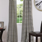 Black & Cream Hand Weaved Cotton Curtains & Drapes - I just really like these striped curtains.