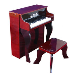 """Schoenhut - Elite Spinet Piano in Mahogany and Black - Combining elegance with durability, the Elite Spinet Piano in Mahogany and Black is a fine instrument that can be passed down from generation to generation. This high quality upright piano has an easy to understand play-by-color teaching method and song book that create a fantastic patented learning system, specially designed for children. Your little one will surely love the melodic chime of this piano, which will encourage him or her to play and learn for hours at a time! Features: -Ideal for ages 3 and up. -Mahogany / Black finish. -Constructed of hardboard. -Twenty five-key, two-octave keyboard. -Song book included. -Chromatically tuned using little hammers striking precision-ground German steel music rods. -Removable color strip fits behind keys for play-by-color teaching method. -Enhances memorization and musical note reading skills. -Adult-sized keys help child learn proper """"finger stretch"""". -No tuning necessary. -Awarded """"Best Classic Toys"""" in 2003 by Dr. Toy. -Available separately in Red, White, and Black.  Specifications: -Piano dimensions: 19.75"""" H x 17"""" W x 10.25"""" D, 21 lbs. -Bench dimensions: 9.25"""" H x 10"""" W x 6"""" D."""