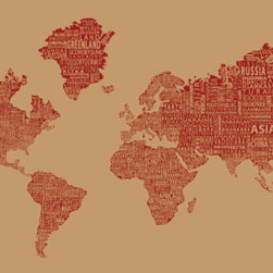 "1-World Text Map Wall Mural - Red Wine - Wallpaper - 8 panel - 166 x 89"" - A modern and bold new world map! The 1-World Text Map Wall Mural features the continents of the world filled with the text of the country, city and place names, making it a modern and unique decorative map for your home or office. Available in several different sizes in a standard wet strength wall paper."