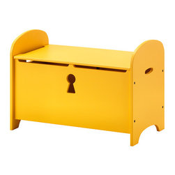 Trogen Storage Bench, Yellow - Bright and fun, this bench with seating on top offers storage under the lid for toys, cushions or blankets. The keyhole cutout is a unique touch, and I like that the lid closes slowly to minimize the risk of fingers getting caught.