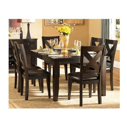 """Homelegance - Contemporary Dining Set w X-Back Design Side - Includes dining table and 4 side chairs. Wood construction. Attractive """"X"""" back dining chair. Table: 60-78 in. L x 42 in. W x 30 in. H. Chair: 22.5 in. W x 19.75 in. D x 40 in. H"""