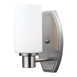 Z-Lite - Z-Lite Adria Bathroom Light X-V1-4091 - A clean, cylindrical matte opal shade complimented with a unique brushed nickel wall mount allows for this fixture to as modern as it in compact. This fixture would be perfect as a vanity fixture, or for adding a touch of modern flair around the house.
