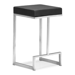ZUO MODERN - Darwen Counter Chair Black (set of 2) - Made from 100% stainless steel and a plush leatherette seat, the Darwen is the perfect mix of comfort and sophistication.