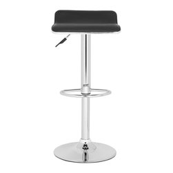 "Safavieh - Chaunda Barstool - Black - The Chaunda Barstool's sleek steel chrome detailing and black faux leather fabric makes the ups and downs of daily living a breeze. Crafted with swivel seat that adjusts from 22.4"" to 30.9"", Chaundra's contemporary style and classic lines make it a must-have for any modern maison."