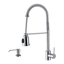 Ruvati - Ruvati RVF1215K1CH Commercial Style Pullout Spray Kitchen Faucet with Soap Dispe - This premium Ruvati kitchen faucet from the Cascada collection is constructed of solid brass giving it exceptional durability. The ceramic disc cartridge ensures drip-free functionality. The faucet can be installed into countertops up to two inches thick. Hot and cold water connection hoses are included.
