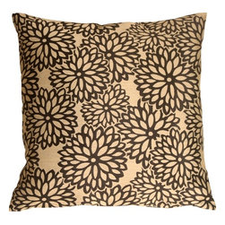 Pillow Decor - Pillow Decor - Floral Bloom in Beige and Black Throw Pillow - A bold black chrysanthemum flower pattern is in full bloom on this stunning throw pillow. The background color is a golden beige that contrasts beautifully with the woven floral design. This color combination lends a masculine touch to an elegant floral theme and will make a strong visual statement in any room.