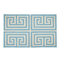 Blue Greek Key Rug - Bringing in blue and white to a boy's nursery can sometimes be babyish. Make your color scheme stand the test of time with this Greek key pattern that can take a boy's room from nursery to toddler to teen.