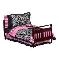Sweet Jojo Designs - Madison Toddler Bedding Set (5 Pc.) - The Madison 5-Piece Toddler Bedding Set by Sweet Jojo Designs will help you create an incredible room for your child. This girl bedding set features exclusive Sweet Jojo Designs 100% cotton prints, including a black and white scroll print, a bold designer stripe and mini polka dot print. It also boasts an incredibly soft minky swirl chenille. This collection uses the stylish colors of pink, black and white. The design uses 100% cotton fabrics combined with soft chenille fabric that are machine washable for easy care. This wonderful set will fit all crib and toddler beds.