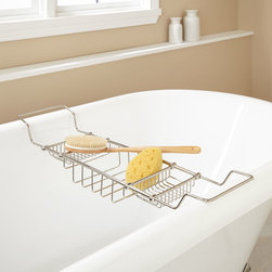 Tub Shelf - This attractive tub caddy is a useful accessory for your freestanding bath.  Composed of solid brass, this shelf is durable and made to last.