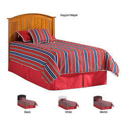 Fashion Bed Group - Finley Curved Arch Twin Size Headboard - Give your bed a makeover by attaching this twin size wood headboard. It is made of a solid piece of wood, so it is durable. The finish is a blend of white, bayport maple, and merlot. The curve of the headboard makes the bed look more relaxing.