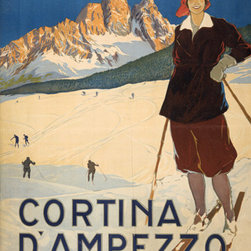 Keep Calm Collection - Cortina D' Ampezzo Vintage Travel Poster, art print - This product is reproduced from a publication, advertisement, or vintage poster. To maintain consistency with the original image, this final product has not been retouched. This print is produced on a 270 gsm fine art paper stock.