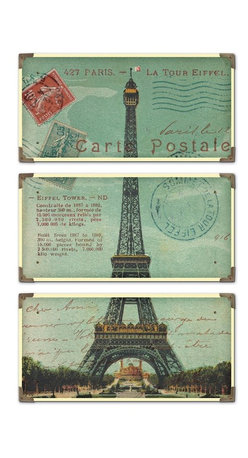Uttermost - Uttermost Eiffel Tower Carte Postale Art Set of 3 - The prints are laminated to wood boards. Each board has antique brass corner accents and decorative screws. Each panel is 12x23.