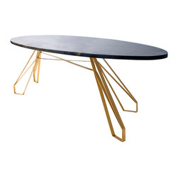 Anton Maka Designs - Mid Century Style Oval Coffee Table - Mid-century modern style lines in a mix of materials. Metal base is seamlessly welded and finished in Gold; solid wood top is finished ebony.
