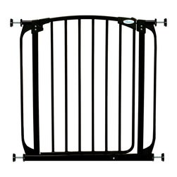 "Dreambaby - Dreambaby Chelsea Swing Close Gate, Black - Dreambaby® Auto Close Security Gate is extremely versatile.  Keep your child safer by preventing access to areas of potential danger. With easy close feature and its double locking system, this attractive pressure mounted gate is easy to install. Suitable for stairs also, you can feel peace of mind knowing your child is safe. Great for cordoning off spaces from door widths to much wider spaces with the use of additional extensions, available separately. Versatile indeed, it will fit openings of 28""-32."" Using optional extensions, sold separately, two extensions may be used per side up to a maximum of 111."" This Dreambaby® pressure-mounted gate is easily installed and for most situations there is no need to screw holes into woodwork or walls unless used at the top of stairs where the mounting cups must be screwed in to added security. Great for pets too!"