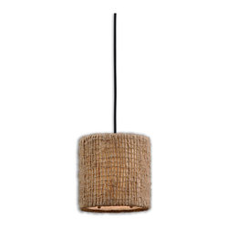 Uttermost - Uttermost Burleson 1 Lt Mini Hanging Shade in Natural Twine - 1 Lt Mini Hanging Shade in Natural Twine belongs to Burleson Collection by Uttermost Natural twine with an open weave construction and a beige inner liner. Frosted glass diffuser included. Mini Hanging Shade (1)