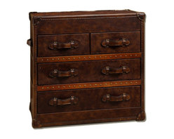 Vintage Steamer Trunk Low Chest - Our reproduction of old time luggage trunks. Vintage leather with aged patina, canvas-lined 4 drawers, leather-bound corner brackets, leather-wrapped handles, wood slats with aged