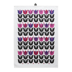 Sagaform - Sagaform Tulip Tea Towel - Add a splash of color and brighten up your kitchen textiles with this vibrant, colorful tulip flower Tea Towel! The design is clean yet playful, with imagery rooted in Scandinavian style. It combines every aspect about what makes a flower unique: its shiny leaves, the long, upright stem, each flower being distinct in itself.