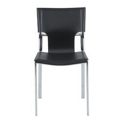 Euro Style - Vinnie Side Chair in Black - Set of 4 - Set of 4. Chromed steel frame. Regenerated black leather seat, back and armrests. Minimal assembly required. 19.5 in. W x 21 in. D x 32 in. H (18 lbs.)Grand ideas for small spaces, the smooth and clean geometric shapes give your rooms a trendy, up-to-date look. The furniture design make your rooms stylish and sophisticated, symbolizing your self confidence.