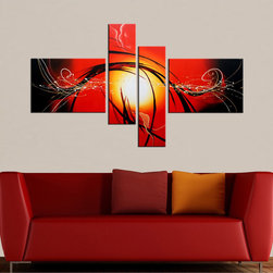 None - Hand-painted 'Raising Hope' 4-piece Gallery-wrapped Canvas Art Set - Add fiery drama to your wall with this contemporary gallery-wrapped canvas art. This hand-painted art is sizable enough to create a vivid focal point in any room and is an abstract composition that travels the length of all four panels in the set.