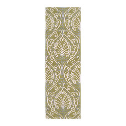 Surya - Candice Olson Hand-tufted Totes BoGreenical Pattern Wool Rug (2'6 x 8') - Hand tufted in 100-percent New Zealand wool,this rug features viscose accents,hand carved details,and a plush pile. Colors of chartreuse,white,and light blue accent this area rug.