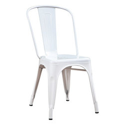 Monarch Specialties - Monarch Specialties 2410 Cafe Chair in White Glossy Metal (Set of 2) - Bring together contemporary design with industrial styling, this white rounded chair is a fashionable statement for all rooms. Built from heavy duty steel, the bent back chair has a stationary seat for added comfort. This glossy white finish will brighten any room, allowing it to easily coordinate with your existing decor. Perfect for pulling up to a table, desk or in any room. Arrives fully assembled.