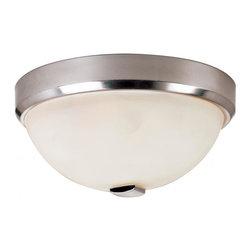 Joshua Marshal - Three Light Brushed Nickel White Frosted Bowl Glass Bowl Flush Mount - Three Light Brushed Nickel White Frosted Bowl Glass Bowl Flush Mount