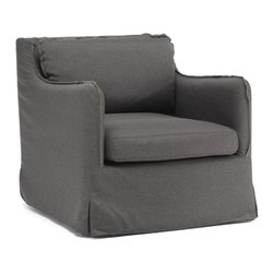 """Tosh Furniture - Laurel Armchair Charcoal Gray - Our European-inspired take on the classic sofa redefines it for a new age. Low to the ground, deep in profile, sleekly streamlined, and overstuffed for casual yet sophisticated appeal, it's a chic, ultra-comfortable twist on tradition. Comes in either beige or charcoal linen fabrics. Charcoal Gray; Polyester Linen; Hardwood Finish; No assembly required; Overall dimensions: 28.7""""W x 33.5""""L x 29.5""""H; Seat Height: 16.5""""; Seat Depth: 30""""; Seat Width: 22.8""""; Arm Height from Floor: 23.6"""""""