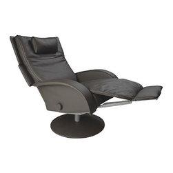 Lafer Nicole Swivel Recliner - Stylish Swivel Leather Reclining Lounge Chair