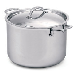 Cuisinox - Cuisinox Elite 14.2 qt Covered Stock Pot - The high luster mirror finish combined with the arched top lid gives this Stock pot its unique look and style. Stainless steel rivets permanently attach our cast stainless steel handles. A pure 18/10 stainless steel assures long-lasting brilliance and easy maintenance. Our 3-ply Surround-Heat technology distributes heat evenly and efficiently.
