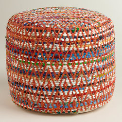 World Market - Multi-Color Round Chindi Pouf - Our exclusive Multi-Color Round Chindi Pouf is crafted of recycled wool filled with a cushy beanbag filling. Stylish and comfortable, it's ideal for distinguishing small spaces or adding an extra seat for guests without taking up too much floor space.