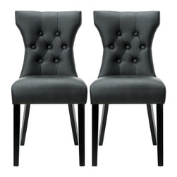 Modway - Modway EEI-911 Silhouette Dining Chairs Set of 2 in Black - Graceful curves whisper elegance from every position. A softly tapered back and rounded hardwood legs lend distinguished support to this hourglass-shaped chair. Invite your way into the lap of luxury at every gathering.