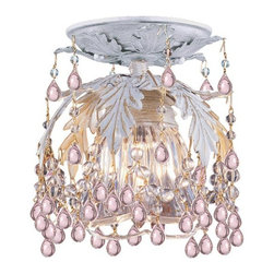 Crystorama - Crystorama Melrose Flush Mount Ceiling Fixture in Antique White - Shown in picture: Melrose Collection 24% Lead Crystal Shade Flush Mount Draped with Rosa Murano Crystal Drops; Add warmth to your home with this enchanting fixture from Crystorama's Melrose collection. This Antique White ceiling mount takes ornate Wrought Iron leaves and dresses them in Rosa colored Murano Crystals making for both a whimsical and welcoming look in any room.