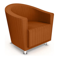Turnstone - Jenny Round Chair - The Jenny Round Chair features a back and arms that describe a curve, creating a comfortable sitting pocket. Durable and functional, the Jenny Round Chair is just right for lobby and office settings. Fully upholstered, with standard brushed aluminum legs.