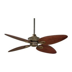 Fanimation Bayhill 56 In. Indoor Ceiling Fan - A little old world style, charm and sophistication come together in this Fanimation Bayhill 56 In. Indoor Ceiling Fan, a creation of Lauren Brooks. Suitable for similarly-styled living rooms or lounge areas, the fan includes a Venetian bronze finish and four custom blades crafted in a unique Cairo purple finish. An identical Bayhill model is also available; it includes a light kit with an amber glass bowl with decorative filigree and three 40-watt candelabra bulbs that truly brings the fan – as well as your room and the evening's atmosphere – to life. Both versions feature three forward and reverse speeds and a 188 x 25 motor. They also come with a 6-inch downrod, although 12-, 18-, 24-, 36-, 48-, 60- and 72-inch downrods are available to accommodate both the size of your room as well as your personal design preferences. The fan is operated by a wall control and a handheld remote is also available, but sold separately. Featuring a modest 56-inch blade span and 14-degree pitch, the Bayhill is rated for dry locations only.Fanimation's Humble Beginnings:No matter how many times the story about the company starting in a garage is told, it never loses its power. Fanimation started in Tom Frampton's garage in Pasadena, California. Tom wanted to make a business of selling high-quality ceiling fans. It wasn't long before demand outpaced his supply. Tom moved his headquarters to central Indiana and expanded his operation. Fanimation now employs over 110 employees and maintains a presence in 23 countries.