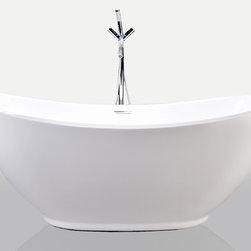 """Kardiel - HelixBath Ephesus Freestanding Bathtub  Acrylic 69"""" w/ Rectangle Overflow - The top rails of Ephesus seem to never quite reach a completely flat horizontal plane, with both ends symmetrically arching upwards. Take a dip back in time with Ephesus, a modern take on a classic soaking tub design."""
