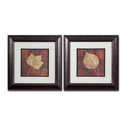 Uttermost - Uttermost Golden Fall 2 Framed Panels w/ Dark Brown & Black Frames - 2 Framed Panels w/ Dark Brown & Black Frames belongs to Golden Fall Collection by Uttermost This set of earth tone prints is accented by mats that have a beige background with a gray woven texture. Frames and fillets have a bronze undertone with a dark brown and black wash. Prints are under glass. Panel (2)