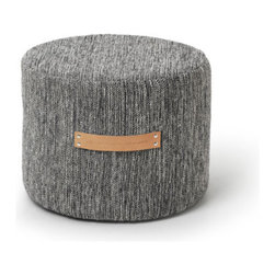 """Björk Stool by Design House Stockholm - """"The birch, a tree that can be found all over Sweden, is my inspiration for the Björk Collection (Björk is the Swedish word for birch). The expression in the woven structure comes from the black and white trunk of the birch and the leather represents the inside of the bark. The rug forms a beautiful flat textile surface in the home, as natural as stone or wood. To me the rugs are like poetry, like a quiet whisper in the room. The stool is a natural part of the Björk collection, just like the stumps in a birch forest. They are a piece of furniture that is light and soft in its expression."""""""