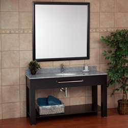 "60"" Caney Console Vanity with Mirror - Perfect for a large master bath suite, the 60"" Caney console vanity features ample storage with its open lower shelf, plenty of counter space and a Chrome towel bar. This deluxe bathroom sink will nicely complement existing contemporary decor."