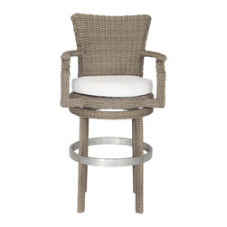 Palisades Swivel Bar Stool, Canvas Taupe - Sophisticated and stylish, our Palisades Swivel Bar Stool is defined by its classic style that will compliment any outdoor space. The plush cushion is manufactured in the USA with Sunbrella weather resistant fabrics. Enjoy hours of entertaining in comfort.