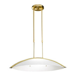 """Kolarz - Top quality from Vienna - Kolarz - Top quality from Vienna Condorde pendant lamp - Condorde pendant lamp is part of a collection of High End light fixtures made in Vienna, Austria by Kolarz. This light series is designed by artistique minds using the finest materials, metal and glass, beeing a unique creation and fashioned to reflect individual personality and lifestyle. Condorde is available in two versions consisting of a long and curved rod that hangs from the ceiling and a lampshade formed of two pieces of satined white glass in curved semicircular shape. The fixture is available in nickel plated finishes or 24k gold plated finishes. Combining its distinctive design with the highest quality of its materials the suspension light is a luxury path for both commercial and residential interiors. Illumination is provided by R7s 118mm, 150W Halogen bulb (not included).      Product Details: Condorde pendant lamp   is part of a collection of High End light fixtures made in Vienna, Austria by Kolarz. This light series is designed by artistique minds using the finest materials, metal and glass, beeing a unique creation and fashioned to reflect individual personality and lifestyle. Condorde is available in two versions consisting of a long and curved rod that hangs from the ceiling and a lampshade formed of two pieces of satined white glass in curved semicircular shape.  The fixture is available in nickel plated finishes or 24k gold plated finishes. Combining its distinctive design with the highest quality of its materials the suspension light is a luxury path for both commercial and residential interiors. Illumination is provided by R7s 118mm, 150W Halogen  bulb (not included). Details:                         Manufacturer:            Kolarz                            Designer:            Kolarz                            Made in:            Austria                            Dimensions:                        Diameter: 25.6""""(65cm) X Height: 4.7""""(12cm)           """