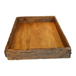"Punky Hill - Distressed Wooden Serving Tray, Bourbon Pecan Finish - This Punky Hill Serving Tray makes all your events special.  The detailed features are full of age and character.  20"" x 14"" x 3"".  New for 2014 is our bourbon pecan finish."