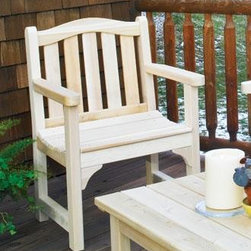 "Sherbrooke Chair - Handcrafted from all Cedar, a durable, decay-resistant wood. Assembled joints are dowel pinned with weatherproof glue & Stainless steel screws. Sturdy armrests and countoured seats make the chair and bench comfortable companions. 35 1/2"""" H, 25 2/4"""" W."