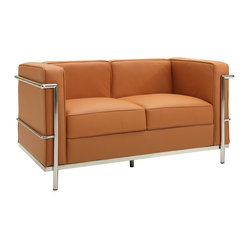 Le Corbusier Style LC2 Loveseat in Tan Genuine Leather