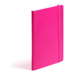 Poppin - Soft Cover Notebook, Pink, Medium - Keep your little black book — or play the field in a rainbow of colors. This notebook features 192 white ruled pages for your field notes, love poems and bright ideas, and it has an interior pocket, elastic closure and an orange bookmark so you know your place.