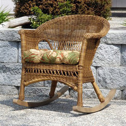 Casual Decor by Kaven - Grand Steel Rocker with Bahama Breeze Cushion - Walnut - Features: