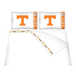 Sports Coverage - Sports Coverage NCAA Tennessee Volunteers Microfiber Sheet Set - Twin - NCAA Tennessee Volunteers Microfiber Sheet Set have an ultra-fine peach weave that is softer and more comfortable than cotton! This Micro Fiber Sheet Set includes one flat sheet, one fitted sheet and a pillow case. Its brushed silk-like embrace provides good insulation and warmth, yet is breathable. It is wrinkle-resistant, stain-resistant, washes beautifully, and dries quickly. The pillowcase only has a white-on-white print and the officially licensed team name and logo printed in team colors. Made from 92 gsm microfiber for extra stability and soothing texture and 11 pocket. Sheet Sets are plain white in color with no team logo. Get your NCAA Sheets Today.   Features:  -  92 gsm Microfiber,   - 100% Polyester,    - Machine wash in cold water with light colors,    -  Use gentle cycle and no bleach,   -  Tumble-dry,   - Do not iron,